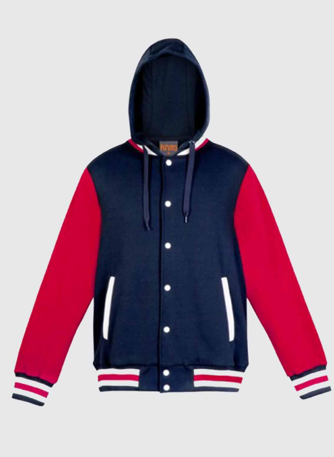 Varsity jacket with hood womens