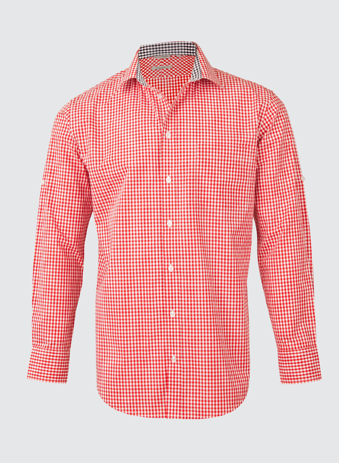M7330l men s gingham check long sleeve shirt with roll up for Men s roll tab sleeve shirts