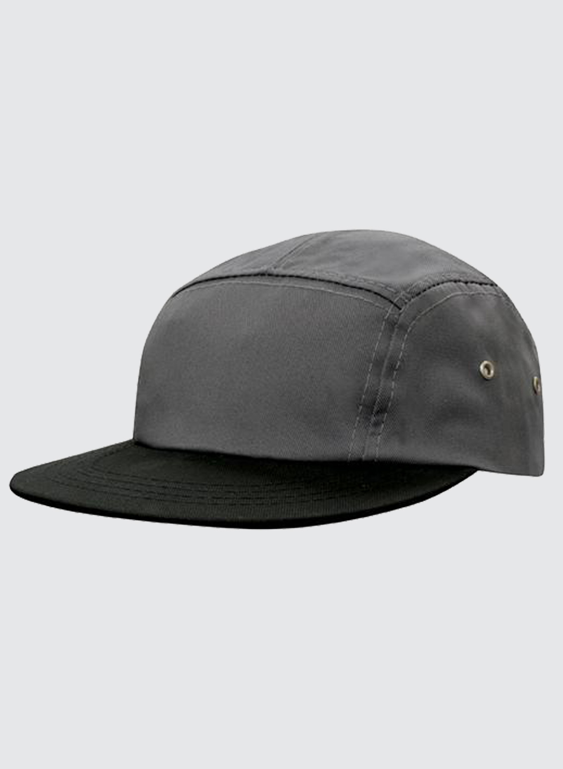 Stone 5 PANEL Cotton Twill Square Front FLAT Peak with Metal Eyelets Cap Hat