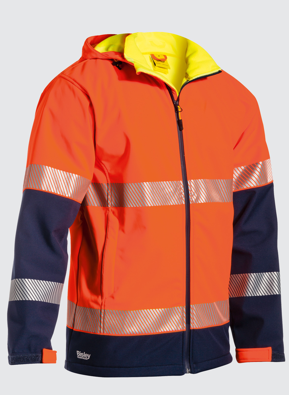 NEW MENS HI-VIS TWO TONE SOFTSHELL WATERPROOF NIGHT 3M TAPE WORK COAT JACKET